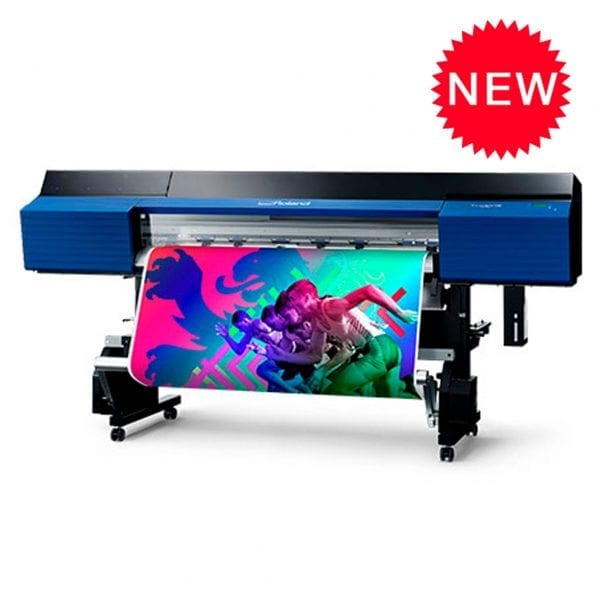Roland SG2 540 Large format print and cut printer printing a vibrant poster.