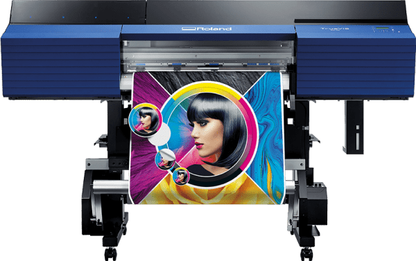 Roland SG2 300 Printing a colourful picture of a lady. foRWARD FACING