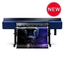 Roland VG2 Series Printer printing a picture of black and purple cat.