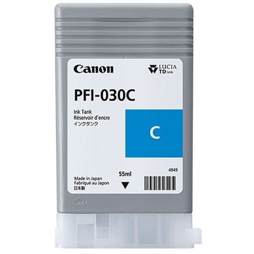 Canon PFI-030 Cyan Ink Cartridge viewed from the front