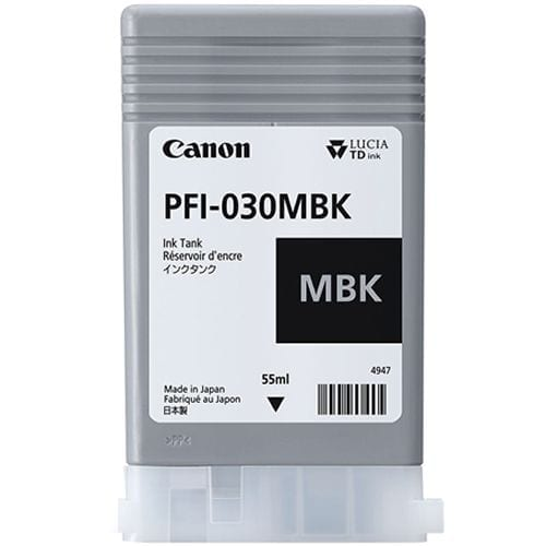 Canon PFI-030 Matte Black ink cartridge viewed from the front