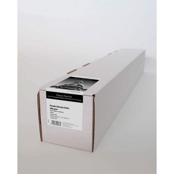 Hahnemuhle FineArt Baryta Satin Roll with paper and label attached